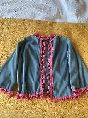 Beautiful Boho Cardi Pom Pom Pebbles Topanga Size 3 Years Girls Cotton Velvet