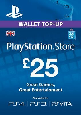 Playstation Network £25 (25 Pounds) UK Store Key - (PS4 PS3 PSP)