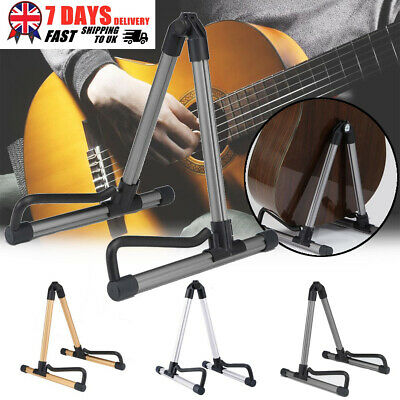 Folding Metal Guitar Stand Music Electric Acoustic Free Standing  Frame Stand