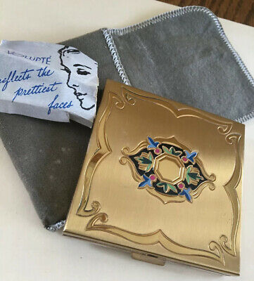 Vintage Volupte Compact  Gold Tone Powder Compact, W/puff/directions/cover