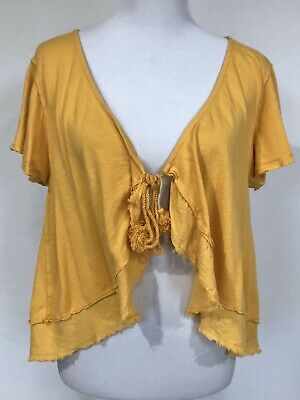 Free People $38 Yellow Tie Front Cover Up Tube Top Sarong 273 mv Skirt XS S M L
