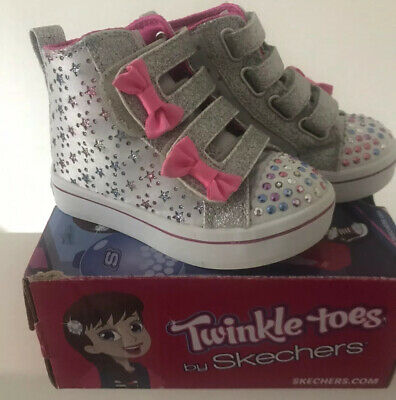 GIRLS SKECHERS TWINKLE TOES HIGH TOPS SIZE 5 Infant