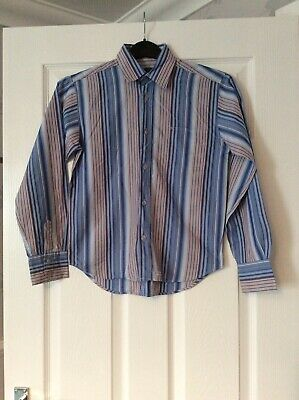 Ted Baker Boys Blue Mix Longsleeved Striped Shirt Age 12 Years Vgc