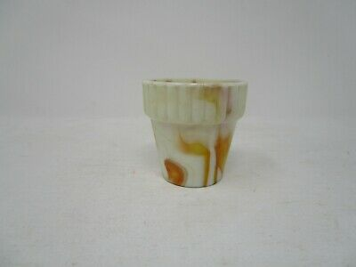 Vintage Akro Agate Flower Pot 2 1/4 inch tall caramel and white