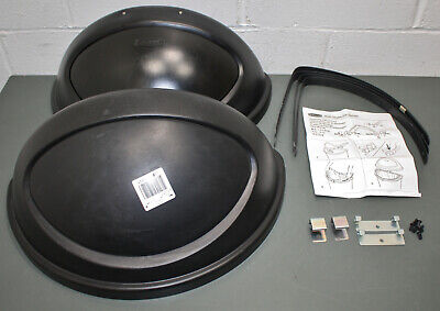 (2) Rubbermaid Untouchable Half Round Container Lid 3620, Black Trash Can Top