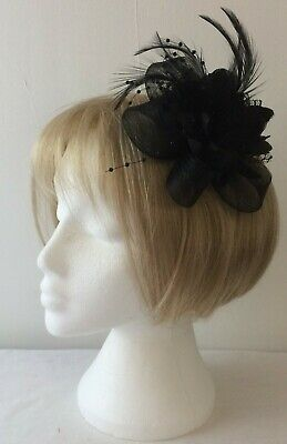 *SALE* Black Feather Net - Lace - Bead Fascinator Alligator Clip  BNWOT