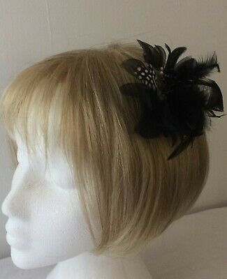 *SALE* Black Spot Feather Net Bead Fascinator Corsage Clip - Pin- Band BNWOT