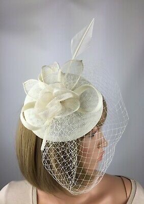 Ivory Cream Fascinator on Clip Wedding Hatinator Mother Bride Ascot Race Pillbox