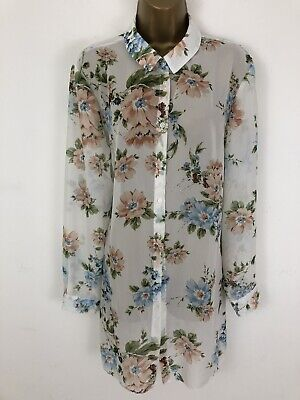 Primark Shirt White Blue Floral Semi Sheer Button Up Collar Long Sleeve Size 18