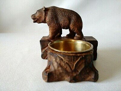 Antique Black Forest Bear with match holder and brass ashtray, carved wood Nice