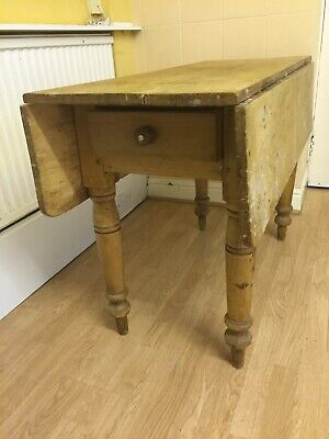Antique pine farmhouse drop side table with drawer
