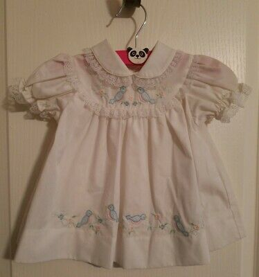 Vtg White Baby Dress Embroidered Blue Birds Flowers Lace Trim 6 to 9 mos Easter
