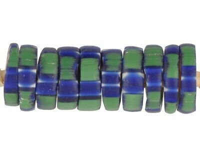 Antique beads chevron Venetian glass old African trade 4 layers green striped