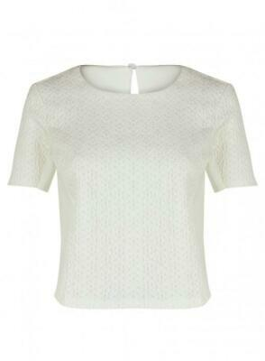 Brand New Ex Topshop Short Sleeve Cream Floral Lace Front Top Sizes 6-14