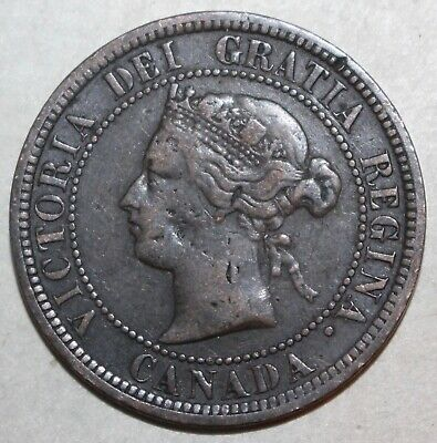 Canadian One Cent Coin, 1876 H - KM# 7 - Canada Queen Victoria 1 Penny V2