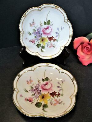 2 Royal Crown Derby English Bone China Small Dishes England Flowers