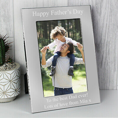 Personalised Silver Fathers Day Engraved Photo Frame Dad Daddy Grandad Papa Gift