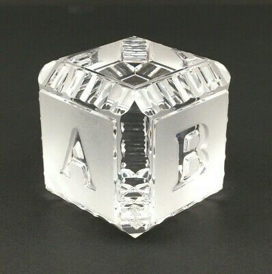 """Waterford Crystal Cube Baby Block Alphabet 2"""" Paperweight Ireland"""