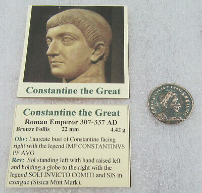 303-337 AD Constantine the Great Bronze Follis Ancient Roman Coin