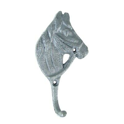 Silver Horse Head Key Hook Coat Hanger Metal Keyring Barn Gear Holder Hat Rack