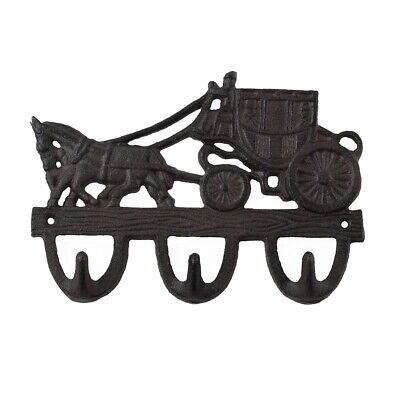 Metal Stagecoach Horse Wall Hook Keyring Holder Coat Bath Kitchen Towel Hanger