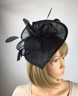 Black Fascinator Hat Wedding Occasion Funeral Mother Of The Bride Ascot Races