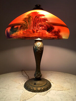 Phoenix Reverse Painted Table Lamp - Handel, Pairpoint, Arts And Crafts Era