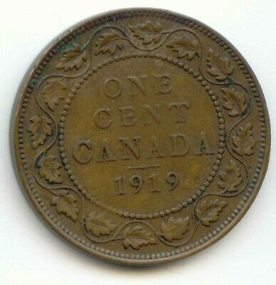 Canada 1919 Large Canadian One Cent Penny 1c