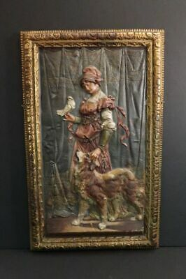 BRADLEY HUBBARD Lady with Dog & Dove Cast Iron Wall Art Plaque BH 1880 Superb !