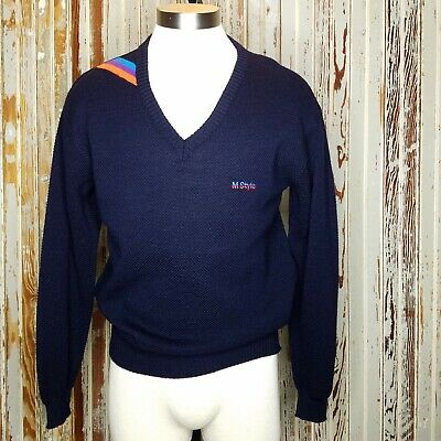 Vtg BMW M Style Sweater Pepino Wool Blend Blue V-Neck Motorsport West Germany