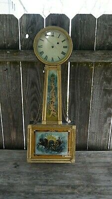early american weight driven banjo wall clock presentation style case parts/rest