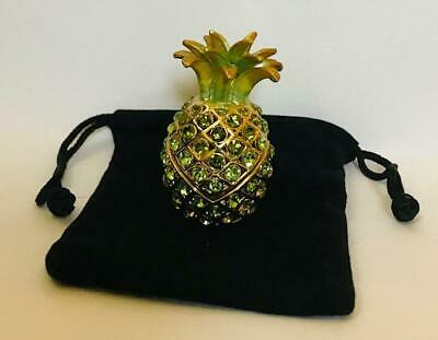 "STUNNING!~  ""CRYSTAL PINEAPPLE"" Solid Perfume Compact W/POUCH"
