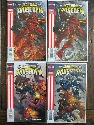 Marvel 2005 IRON MAN HOUSE OF M Comic Book Issues #1 2 3  Complete Set VARIANT 4