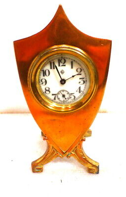 Gilbert Art Deco Floral Decorated Metal Clock 6 Inches High