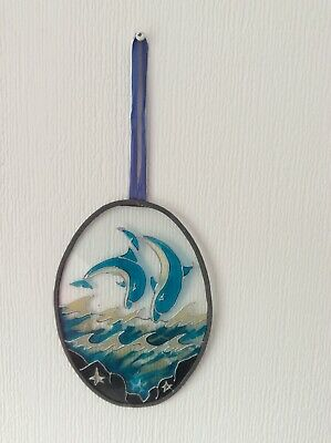 Sun Catcher, Leaded Edge, Hand Painted Of Leaping Dolphins