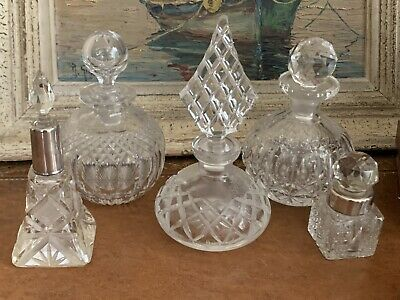 Vintage Cutglass Perfume Bottles - Two With Silver Collars
