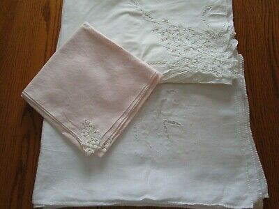 3 Vintage White, Beige, Pink Tablecloths - Use or Cutter