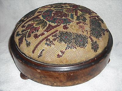Antique Victorian Beaded needlepoint footstool, from England