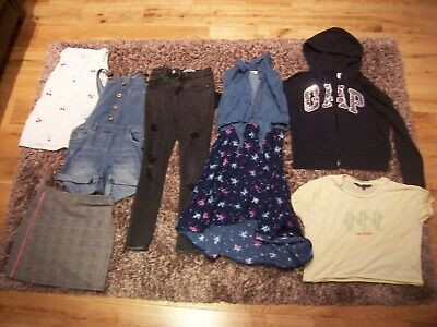 Girls clothes bundle lot Age 12 years Jeans Dungaree shorts Hoodie Next New Look