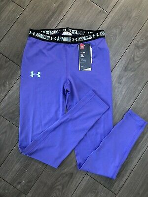 UA Under Armour Leggings Girls Size YLG L Large HeatGear Fitted Purple Print NWT