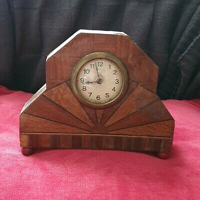 Wooden Art Deco , sun burst pattern mantle clock 1930s  FRENCH