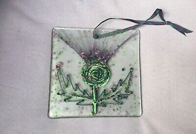 Glass by Kathryn Hand Painted Thistle Glass Window Sun Catcher Hanging