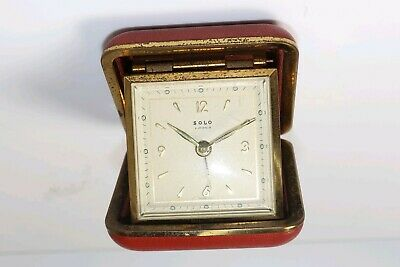 "Vintage Art Deco ""Solo"" France Folding Travel Alarm Clock French"