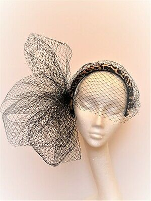 Black leopard print Fascinator headband Hat Wedding Ascot Derby Races crown halo