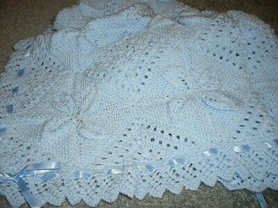 New Hand Knitted Baby Blanket, Leaf Design, Blue, Edged With Ribbon