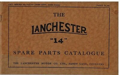 Lanchester 14 Fourteen Chassis 1936- Orig. Factory Illustrated Parts Catalogue