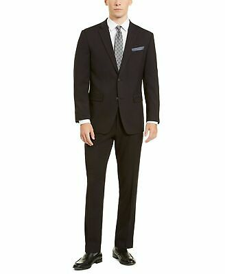 $395 Perry Ellis Premium Men's Black Slim Fit Stretch Tech 2 PC Suit 38R 32 x 32