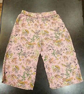 Girls Next Summer Floral Pink Light Weight Crop Trousers Pants Age 9 Years