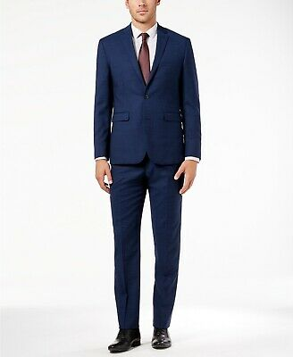 $695 Vince Camuto Men's Slim Fit Stretch Solid High Blue Wool 2 PC Suit 40R 33W
