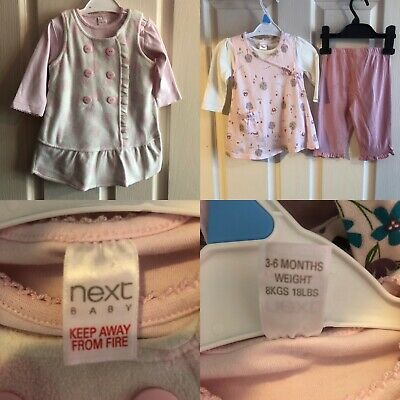 Next Baby Girl 3-6 Month Bundle Outfits Dress Vest Top Leggings